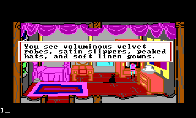 "Gwydion standing before an open wardrobe in Manannan's luxurious bedroom. Game text reads: ""You see voluminous velvet robes, satin slippers, peaked hats, and soft linen gowns."""