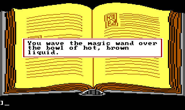 "A close-up view of the large yellow spellbook. Game text reads: ""You wave the magic wand over the bowl of hot, brown liquid."""