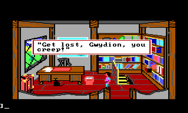 "Gwydion stands in Mannanan's study. A trapdoor in the floor is open, revealing stairs down to the basement. A black cat sits nearby. Game text reads: ""'Get lost, Gwydion, you creep!'"""