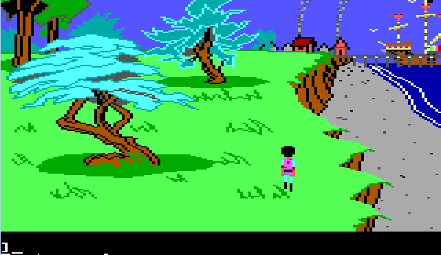 Gwydion walks along a grassy cliff by the sea. A small town is visible off in the distance. Next to the town, a large and fancy ship is anchored at the dock.