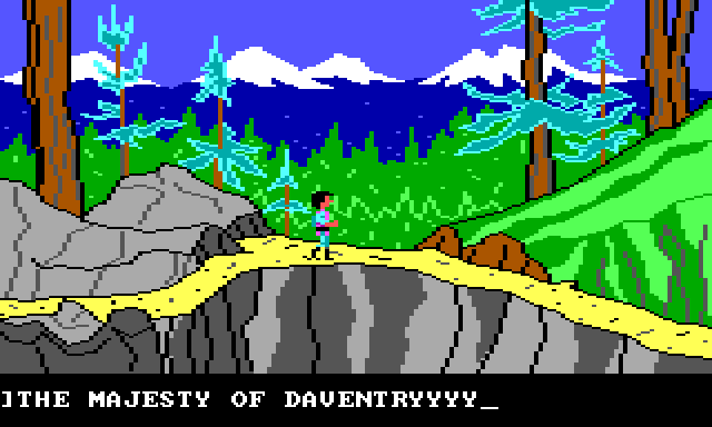 "Gwydion walks along a narrow mountain path which is descending into a thick forest. Input text reads: ""THE MAJESTY OF DAVENTRYYYY"""