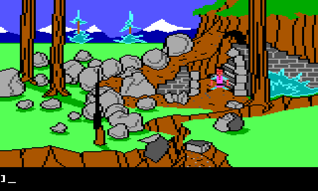 Gwydion is sitting awkwardly at the bottom of a small cliff. There is more burnt forest around him, as well as a pile of fallen rocks. He is next to a crumbled stone structure. Ignoring the destruction, it is recognizable as the mountain door from King's Quest I.
