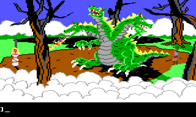 In the center of the clearing is a giant three-headed dragon. One of the heads breathes fire toward a blonde woman in a white dress, who is tied to a burnt stump on the left side of the screen. On the right side of the screen is Gwydion, partly transparent.