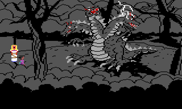 Same scene, but everything has turned black-and-white as dark storm clouds form in the background. Lightning strikes the dragon, and the blonde woman is screaming. Gwydion stands near her, still invisible.