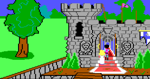 Gwydion and Rosella approach the front door of the castle from King's Quest 1. It looks worn down and overgrown. The moat is empty.