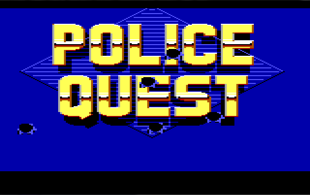 "Title screen. The words ""POLICE QUEST"" are written in shiny gold block letters on a dark blue background. There are several cartoon bullet holes in the screen."