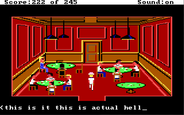 "Sonny stands in the middle of a room with red walls and floors, wood paneling, and four green-felted poker tables in it. Players sit around three of the tables playing poker. Input text reads: ""this is it this is actual hell"""