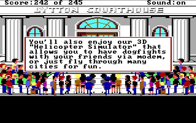 "A large crowd of people stands in front of the courthouse, which is a large white building with marble columns. Game text reads: ""You'll also enjoy our 3D 'Helicopter Simulator' that allows you to have dogfights with your friends via modem, or just fly through many cities for fun."""