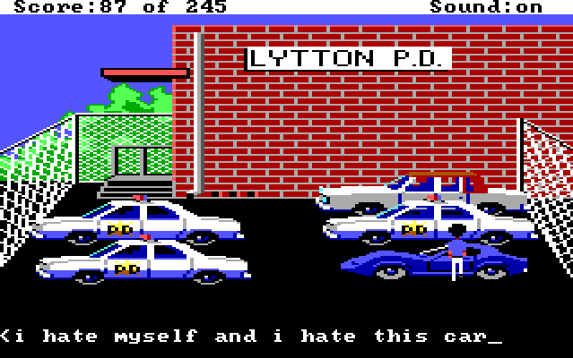 "Sonny stands next to a flashy blue car in the police station parking lot. Input text reads: ""i hate myself and i hate this car"""