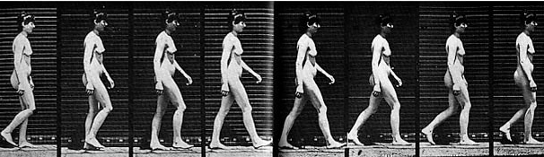 Frames of a nude woman walking, seen from the side, from Edward Muybridge