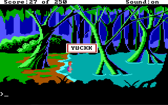 "A dark swamp surrounded by thick trees. Roger is just stepping into the water. Game text: ""YUCKK"""