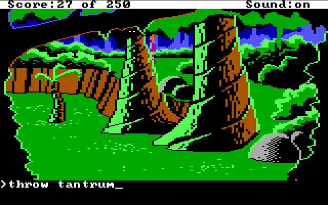 "Another part of the forest. Roger stands next to some truly enormous trees. Input text: ""throw tantrum"""