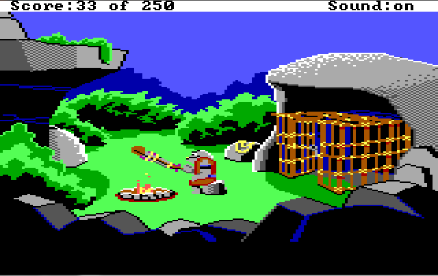 A rocky area with a campfire in the middle and an open wooden cage at the right side of the screen, under a rocky overhang. A gray lizard-man sits by the fire, roasting Roger on a stick.