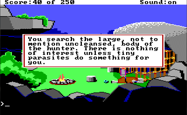 "Lizard-man's camp. Roger is out of the cage and the lizard-man lies face down next to him. Game text: ""You search the large, not mention uncleansed, body of the hunter. There is nothing of interest unless tiny parasites do something for you."