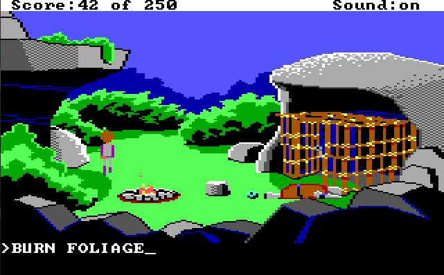 "Lizard-man's camp. Lizard-man is knocked out. Roger stands on the other side of the camp. Input text: ""BURN FOLIAGE"""