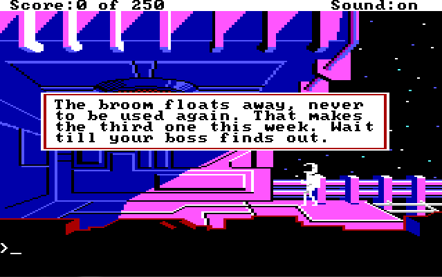 "Old-fashioned pixel graphics show a man in a white spacesuit standing on the blocky exterior of a large pink spaceship. Game text reads: ""The broom floats away, never to be used again. That makes the third one this week. Wait till your boss finds out."""