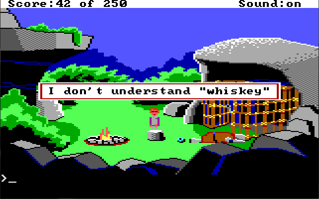 "Lizard-man's camp. Game text: ""I don't understand 'whiskey'"""
