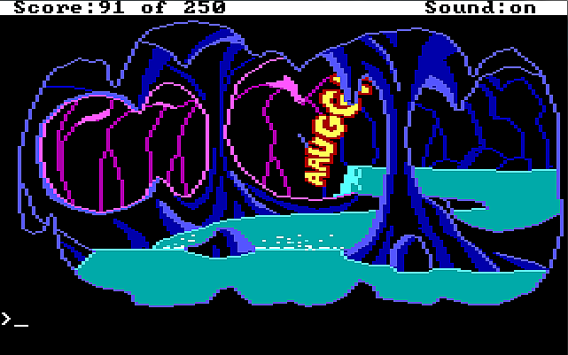 "A dark underground cave with a winding river running through it. A waterfall at the end plunges into a deep-looking hole. Cartoony sound-effect text reading ""AAUGGH!"" emerges from the hole."