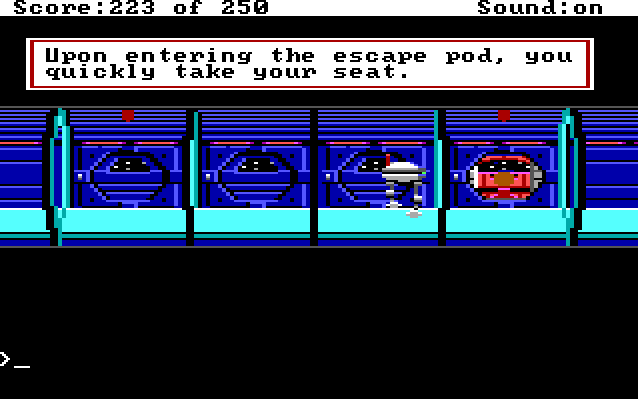 "A narrow corridor lined with escape pods. A hamburger-shaped robot with legs faces Roger, who sits in one of the pods. The pod door is closing. Game text: ""Upon entering the escape pod, you quickly take your seat."""
