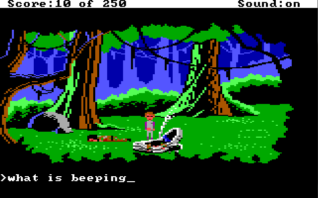 "Roger stands in a forest next to a crashed, smoking hovercraft. A dead body lies face down next to him, and there is another dead body in the hovercraft. Input text: ""what is beeping"""