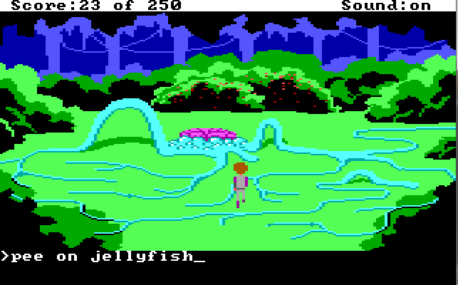 "Same scene. Roger stands in a different part of the tentacle maze. Input text: ""pee on jellyfish"""
