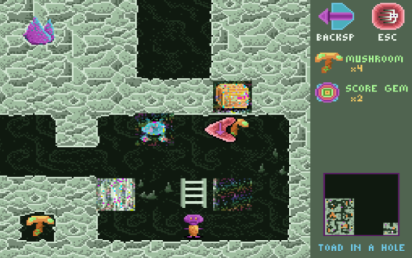 A top-down dungeon-like environment with ladders and colorful monsters. An orange and purple character stands under a ladder. Several squares look like they are glitched, with colorful noise over them.