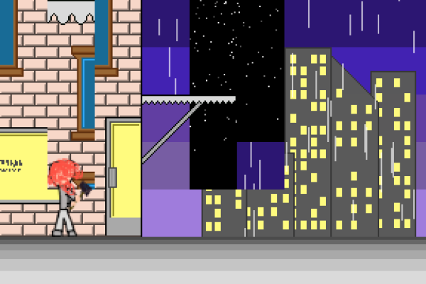 A flat, pixellated view of a building with a cityscape behind it. It is raining. Part of the backdrop is missing, with a dark starry sky visible behind it. A red-haired character holds a hammer in front of the building, which is similarly glitched.