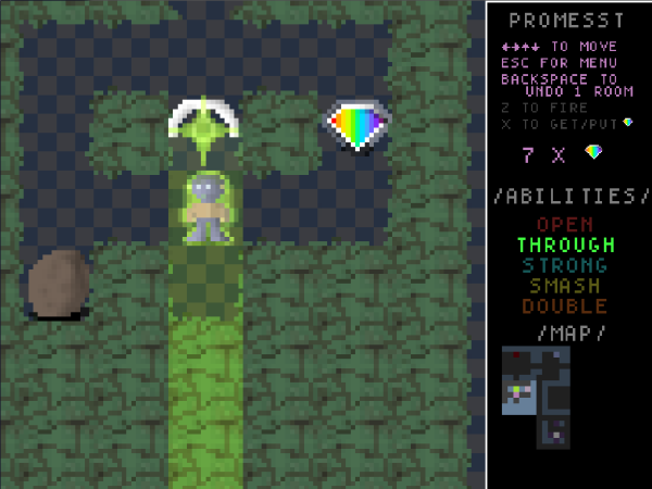 A top-down game in a green cave-like environment. Similar graphical style to Corrypt. A figure stands in the middle of the screen under a crystal that shines a green beam downwards. A rainbow crystal is nearby. The right sidebar includes a map and a list of actions, some of which are highlighted.