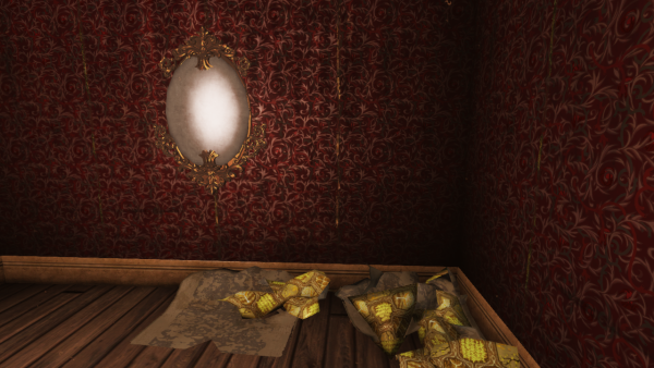 First person camera. A corner of a room covered in rich but peeling wallpaper in dark red and gold. A cloudy oval mirror with an ornate gold frame is on the wall. There is a pile of crumpled yellow wallpaper on the floor. The floor is bare wood.