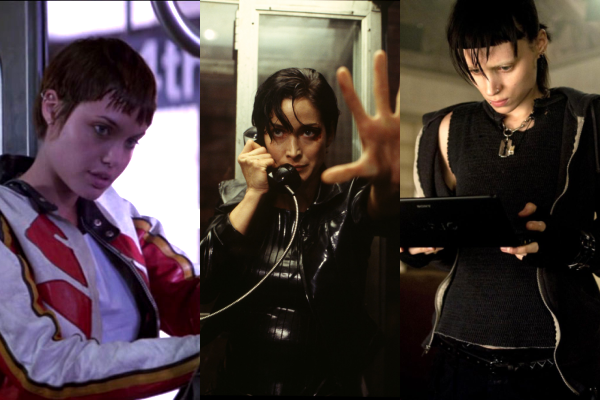 Three stills of women from cyberpunk movies: Kate from Hackers, Trinity from The Matrix, and Lisbeth Salander from The Girl with the Dragon Tattoo.