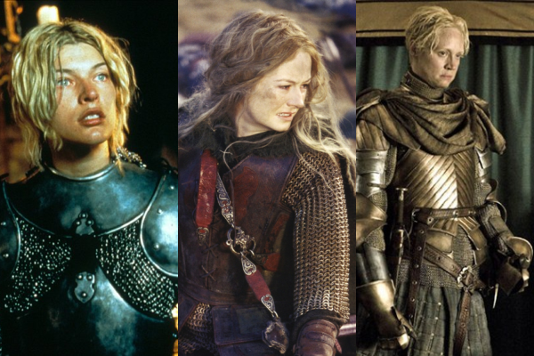 Three stills of women warriors from fantasy movies or shows: Joan of Arc from The Messenger, Eowyn from The Lord of the Rings, and Brienne of Tarth from Game of Thrones.