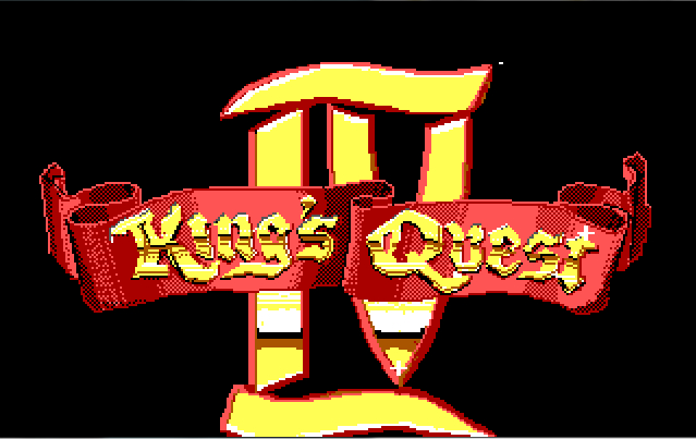 "King's Quest 4 title screen. A big shiny ""IV"" with a red banner reading ""King's Quest"" across it."
