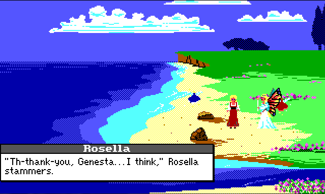 "Rosella and Genesta stand on a beach. Rosella is now wearing a red peasant dress over a white blouse, and her hair is in braids. Rosella's dialogue reads: ""'Th-thank-you, Genesta... I think,' Rosella stammers."""