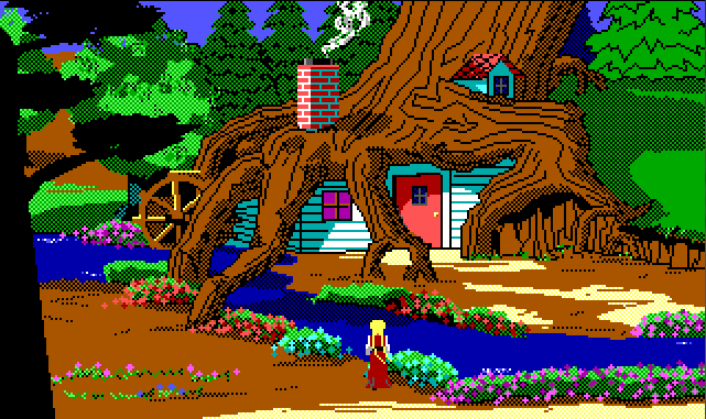 Rosella stands by a narrow stream looking at a little house built into the roots of a giant tree.