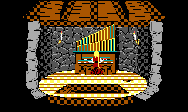 Rosella sits playing a pipe organ in a small tower room.