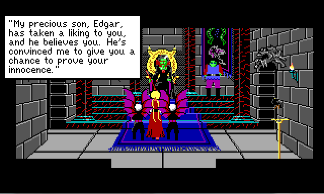 "Same scene. Lolotte's dialogue reads: ""My precious son, Edgar , has taken a liking to you, and he believes you. He's convinced me to give you a chance to prove your innocence."""