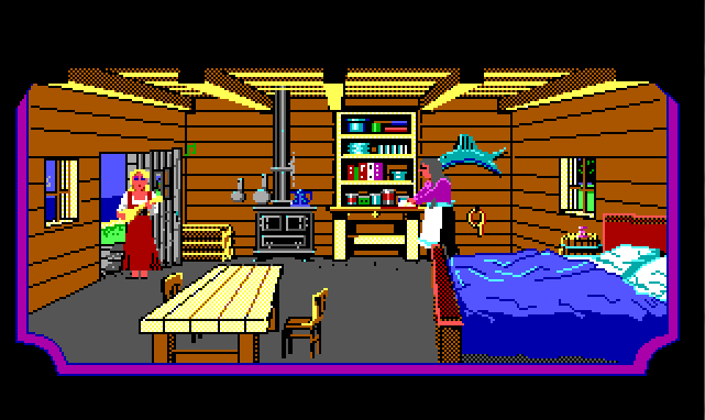 Rosella stands in a fisherman's cottage, playing a lute. Little music notes rise above her. An older woman in an apron stands nearby.