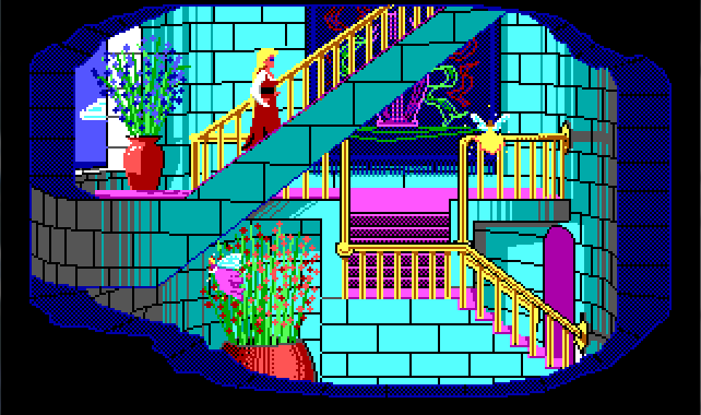 Rosella walks up the stairs of a very fancy blue-and-pink palace. More of Genesta's small fairies are flying around.