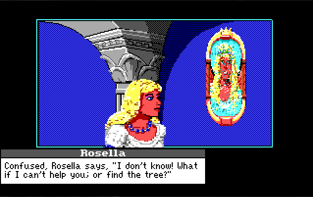 "Closer view of Rosella talking to a broken image of a woman in the mirror. Text reads: ""Confused, Rosella says, ""I don't know! What if I can't help you; or find the tree?'"""