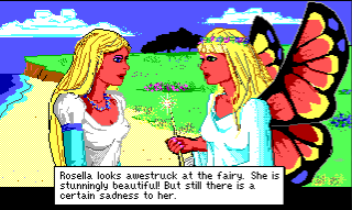 "A close view of Rosella and Genesta standing together on a beach. They look very similar, except for Genesta's wings. Text reads: ""Rosella looks awestruck at the fairy. She is stunningly beautiful! But still there is a certain sadness to her."""
