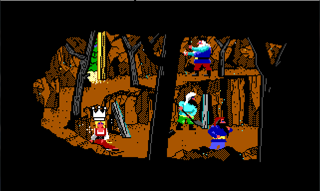 A cramped mine where colorfully dressed dwarfs are working. Rosella sits under a ledge looking dazed. The crown-shaped mouse cursor is on top of her head.