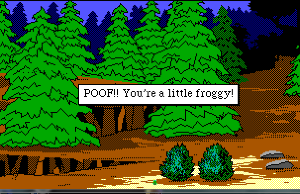 "A forest scene. Rosella is barely visible as a tiny green frog sitting next to a bush. Text reads: ""POOF!! You're a little froggy!"""