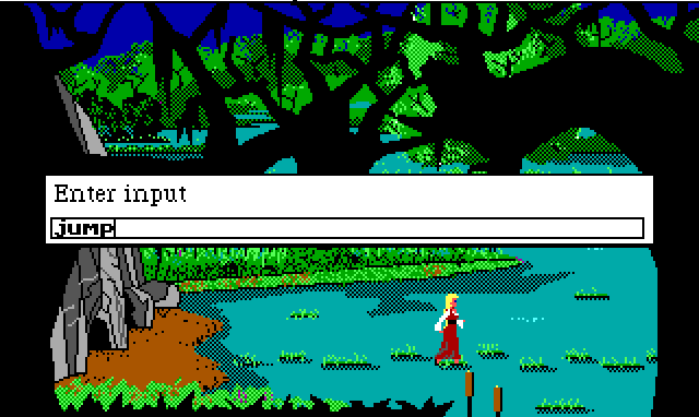 "Rosella stands on a tuft of grass in the middle of a swamp. There is a line of such tufts leading across the screen. Input reads: ""jump"""
