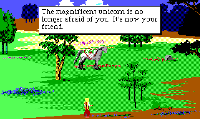 "Same scene. Rosella has just fired a bow, and the unicorn has a big pink heart over it. Game text reads: ""The magnificent unicorn is no longer afraid of you. It's now your friend."""