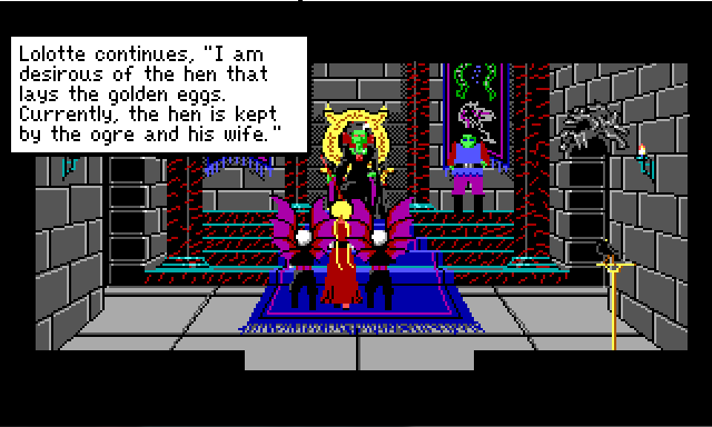 "Rosella stands in Lolotte's castle, flanked by winged guards. Lolotte is a green-skinned sorceress sitting on a throne. Her son stands nearby. Game text reads: ""Lolotte continues: 'I am desirous of the hen that lays the golden eggs. Currently, the hen is kept by the ogre and his wife.'"""