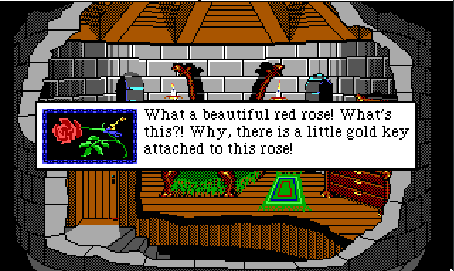 "Same scene. An inset image shows a rose in closeup. Game text reads: ""What a beautiful red rose! What's this?! Why, there is a little gold key attached to this rose!"""