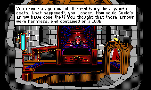 "A different tower bedroom. Lolotte sits up in a fancy four-poster bed. Her green skin has turned red, and a heart floats over her head. Rosella stands nearby. Game text reads: ""You cringe as you watch the evil fairy die a painful death. What happened?, you wonder. How could Cupid's arrow have done that? You thought that those arrows were harmless, and contained only LOVE."""