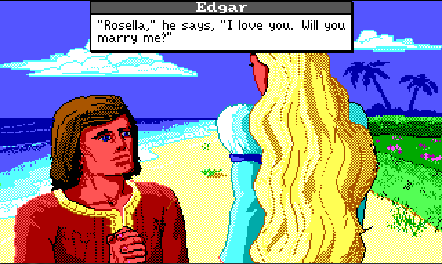"A closer view of Rosella's back, with Edgar kneeling in front of her. He is now a standard white guy with shoulder-length brown hair. His hands are folded . Edgar's dialogue reads: ""'Rosella,' he says, 'I love you. Will you marry me?'"""