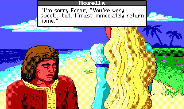 "Same scene. Edgar bows his head, looking sad. Rosella's dialogue reads: ""I'm sorry Edgar,. You're very sweet... but, I must immediately return home."""