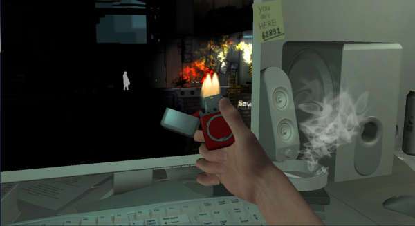 Atum screenshot. A first-person view of a computer on a desktop. The computer screen shows a platformer game. The player character is holding up a lighter to the screen, which has set some barrels on fire in the game-within-the-game.